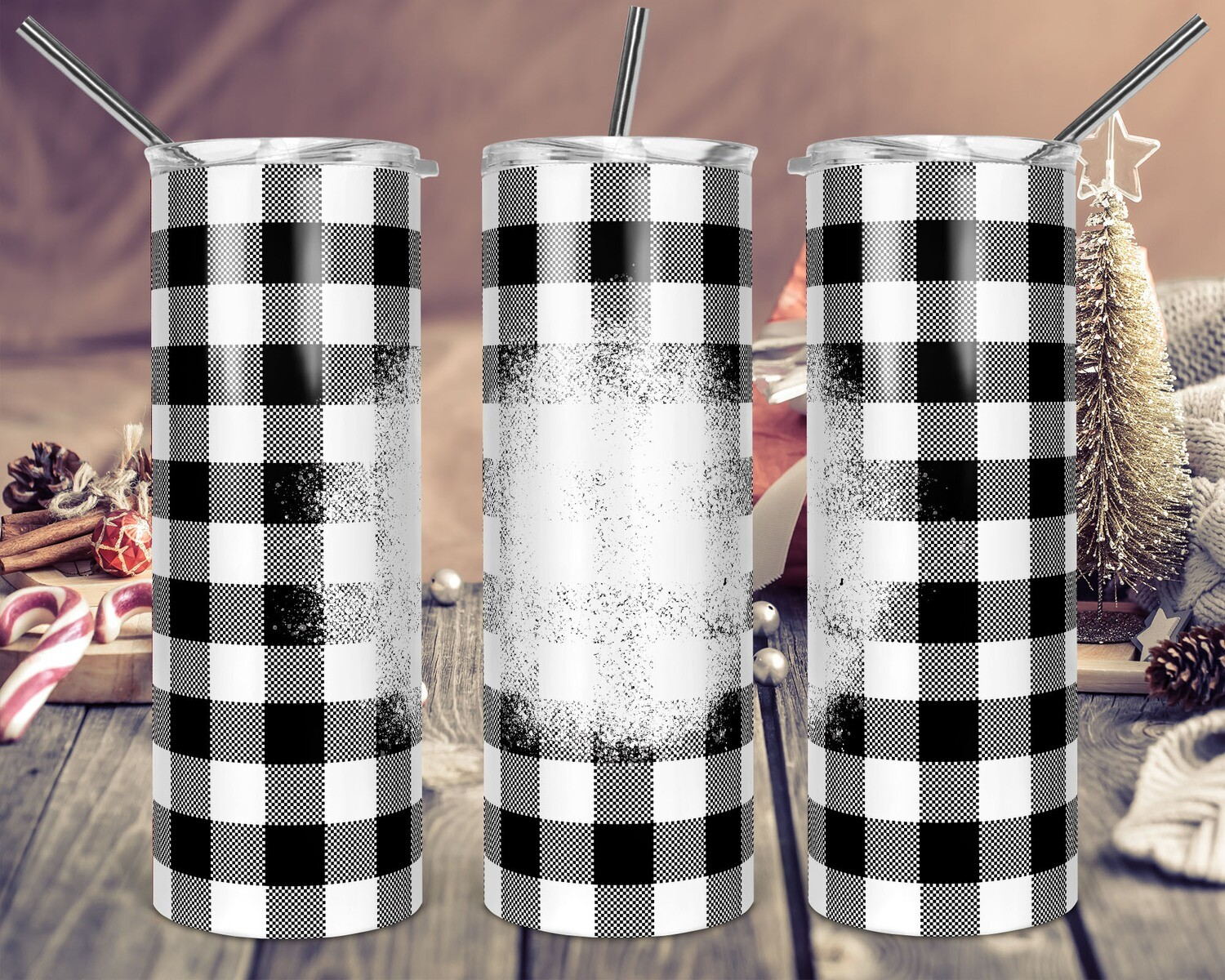 White Buffalo Plaid White Splatter - 20oz & 30oz Skinny TUMBLER PNG Sublimation