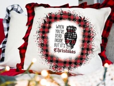 Huge Mom Skull Bundle - When You're Dead inside but it's Christmas- 20oz & 30oz Skinny TUMBLER, MUG, Shirt, Pillow PNG Sublimation