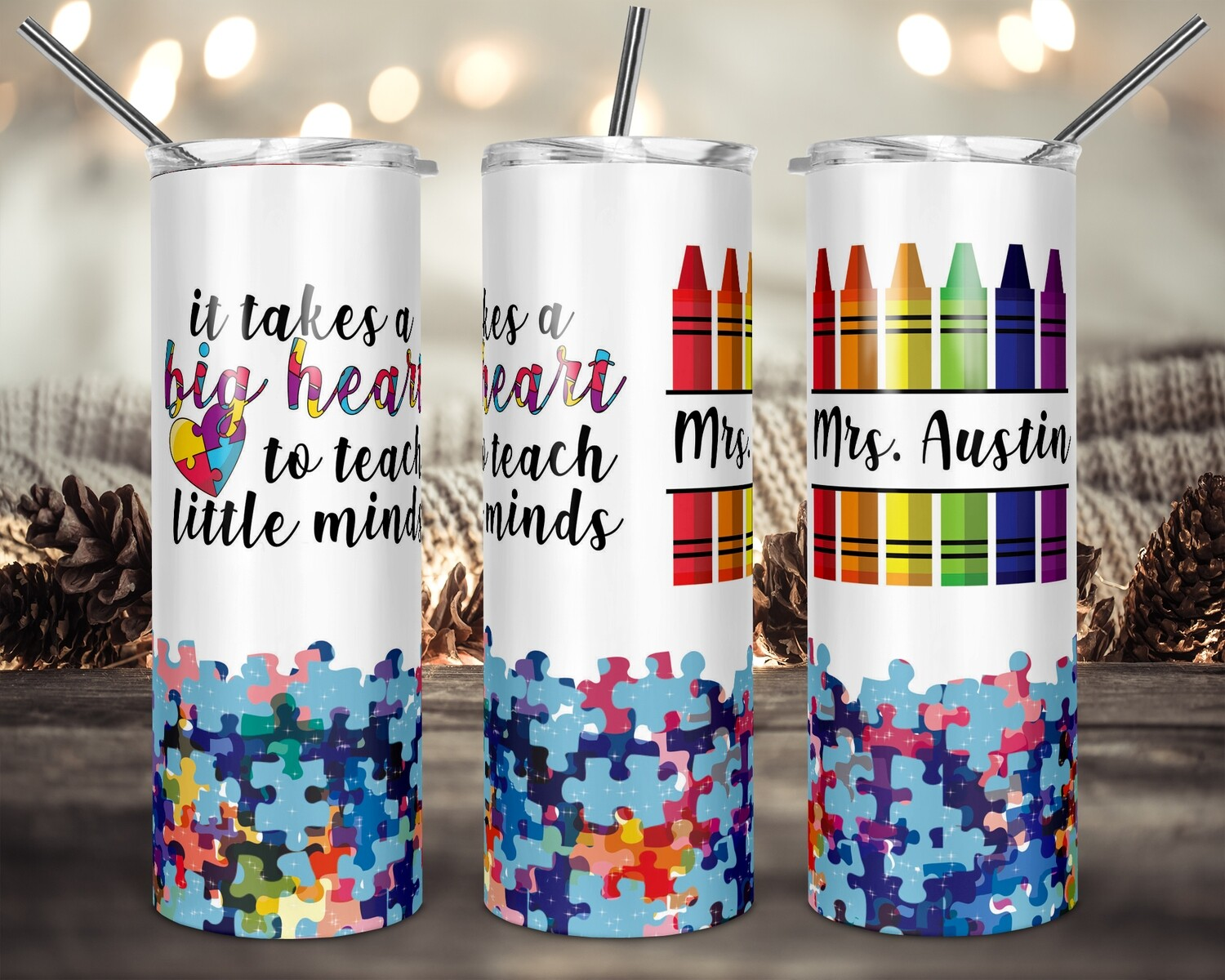 It takes a big heart to teach little minds - 20oz & 30oz Skinny TUMBLER PNG Sublimation