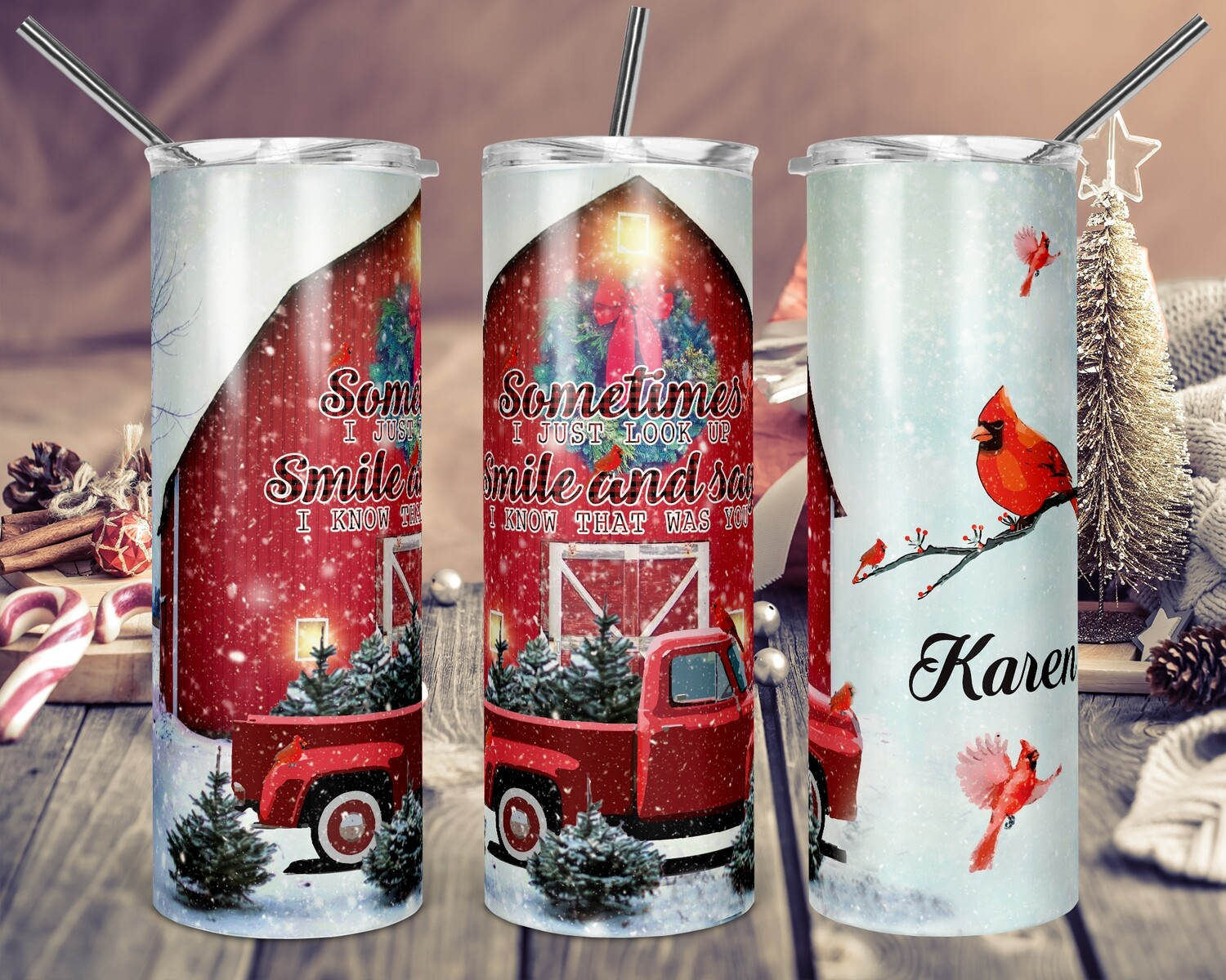 Sometimes I just Look Up Smile and Say Red Cardinal - 20oz & 30oz Skinny TUMBLER PNG Sublimation