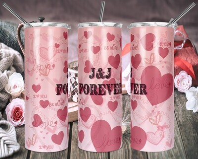 Valentines Day Flowing Hearts - 20oz & 30oz Skinny/Straight TUMBLER PNG Sublimation