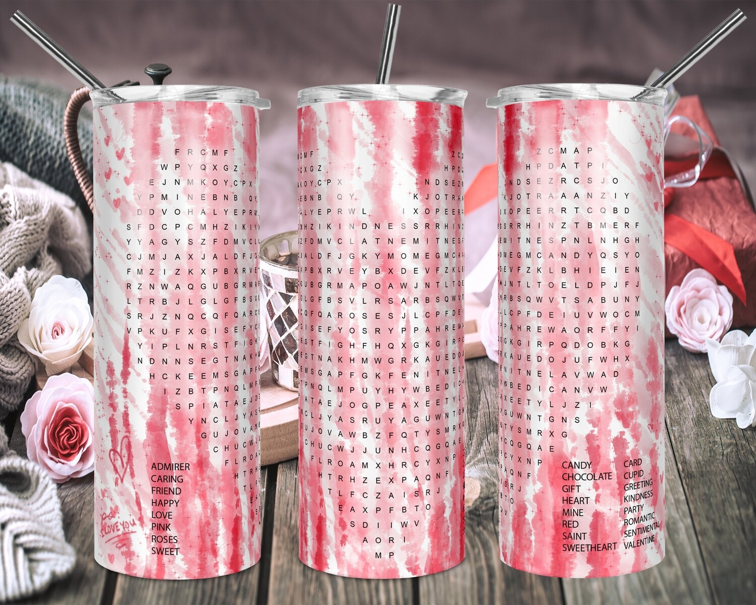 Valentines Word Search  - 20oz Tapered + 20oz STRAIGHT TUMBLER PNG Sublimation