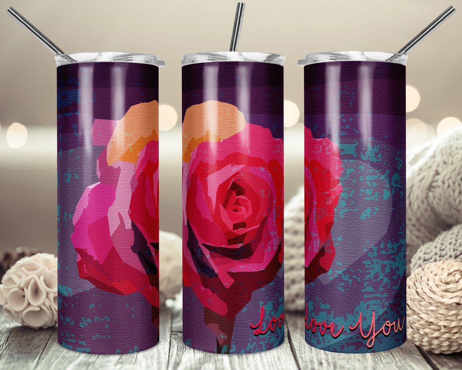 Love You Rose Canvas Painting  - 20oz Tapered + 20oz STRAIGHT TUMBLER PNG Sublimation