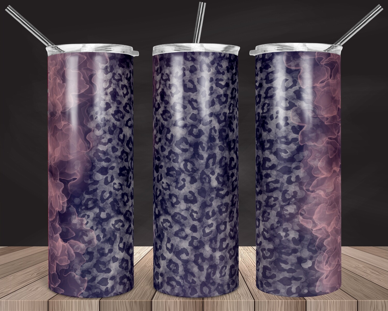 Cheetah Smoke - 20oz Tapered + 20/30oz STRAIGHT TUMBLER PNG Sublimation
