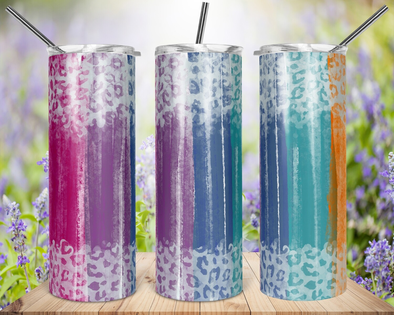 Cheetah Painted Stripes - 20oz Tapered + 20/30oz STRAIGHT TUMBLER PNG Sublimation
