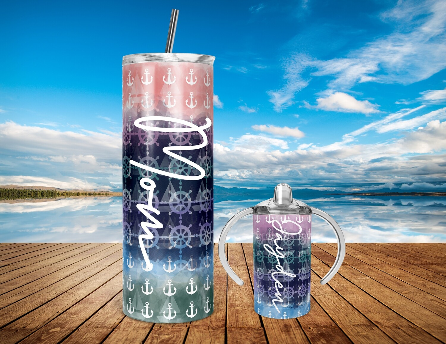 Mommy and Me Anchors Sail Boat  - 20/30oz Taper + STRAIGHT TUMBLER PNG Sublimation
