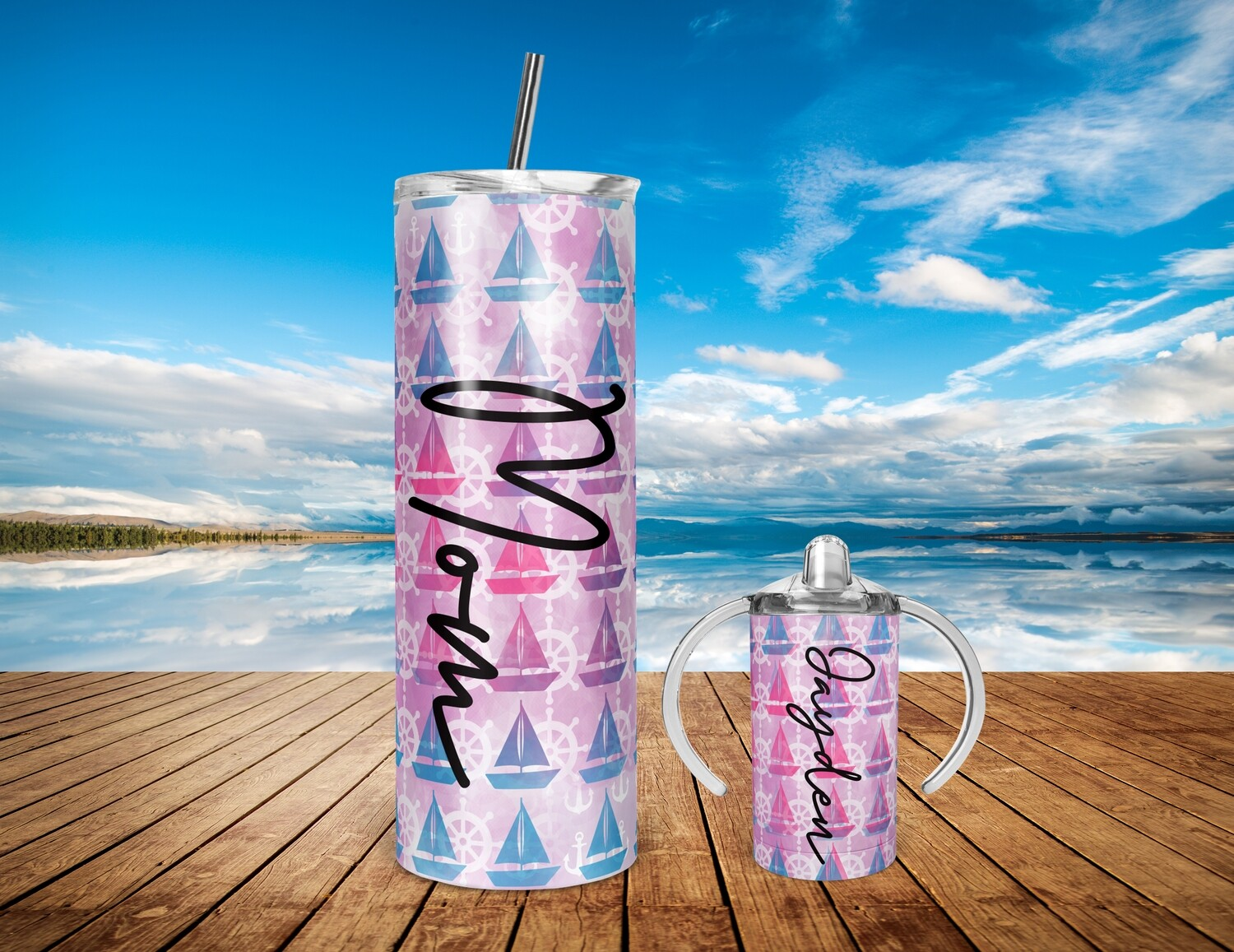 Mommy and Me Pink Sails - 20/30oz Taper + STRAIGHT TUMBLER PNG Sublimation