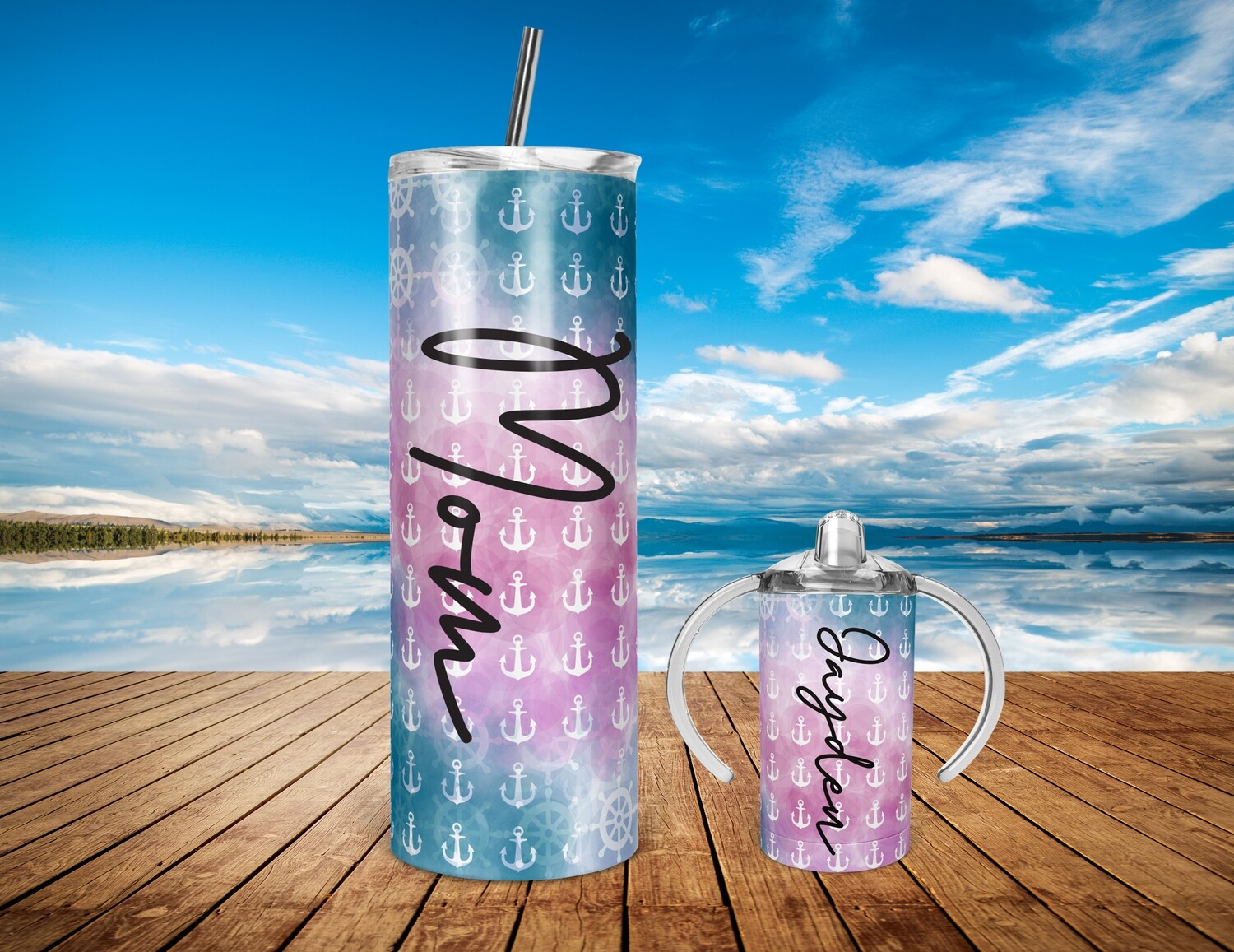 Mommy and Me Pink Anchor Center  - 20/30oz Taper + STRAIGHT TUMBLER PNG Sublimation