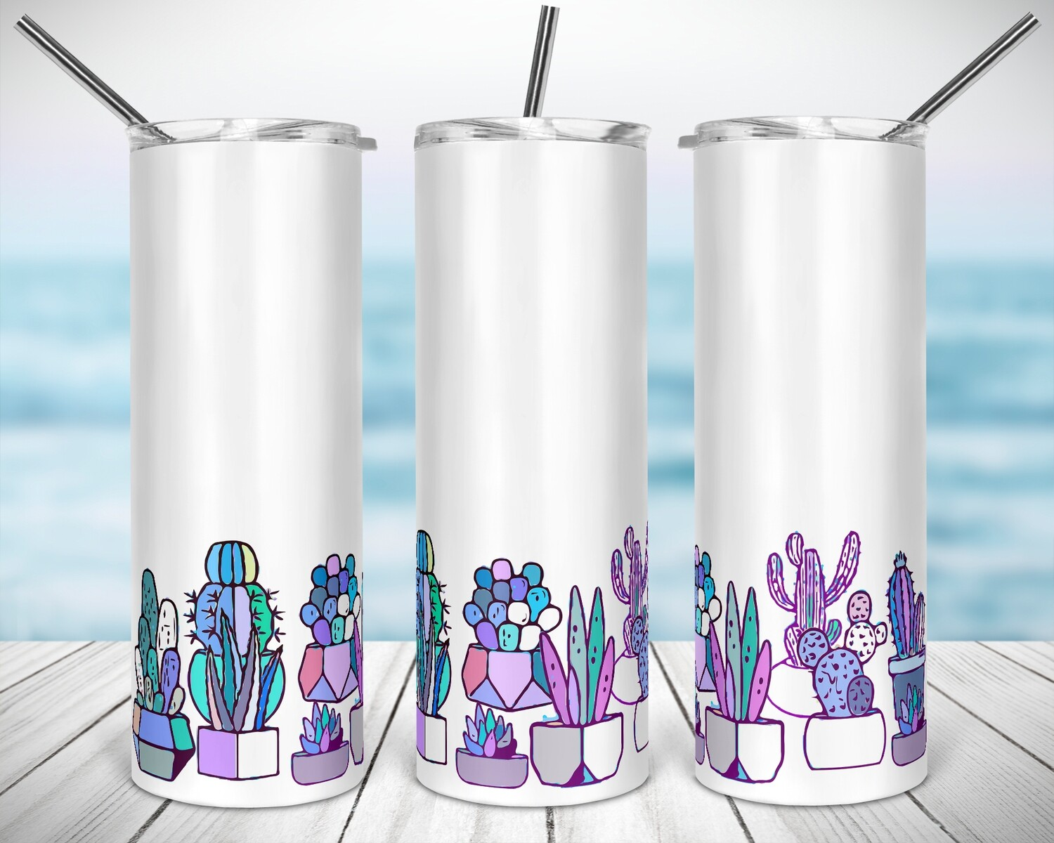 Succulent Family - 20/30oz Taper + STRAIGHT TUMBLER PNG Sublimation