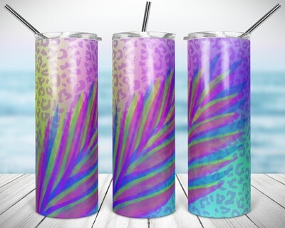 Tropical Cheetah Palm Leaf - 20/30oz Taper + STRAIGHT TUMBLER PNG Sublimation