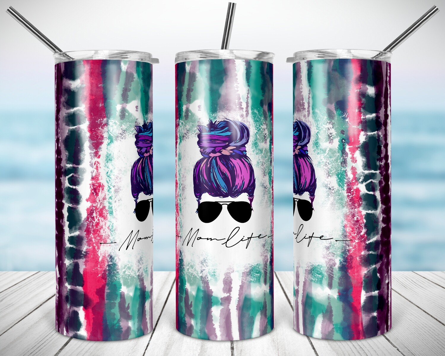 TieDye Mom Life- 20/30oz Taper + STRAIGHT TUMBLER PNG Sublimation