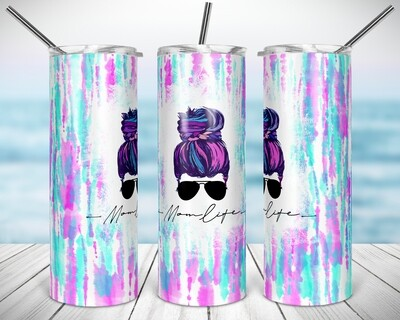 TieDye Mom Life Lite- 20/30oz Taper + STRAIGHT TUMBLER PNG Sublimation