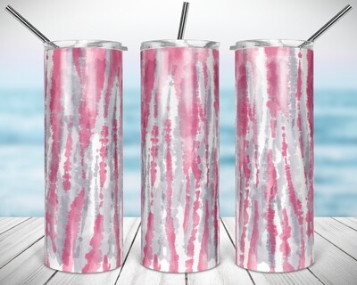 TieDye Pink and Grey Stripes - 20/30oz Taper + STRAIGHT TUMBLER PNG Sublimation