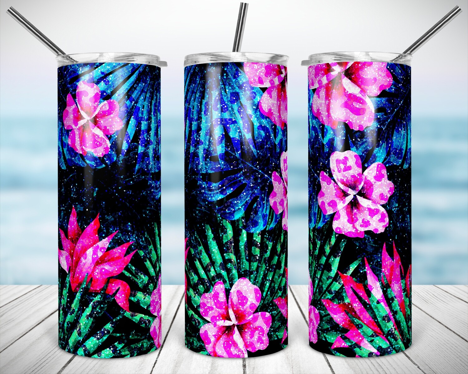 Tropical Cheetah Flowers 20/30oz Taper + STRAIGHT TUMBLER PNG Sublimation