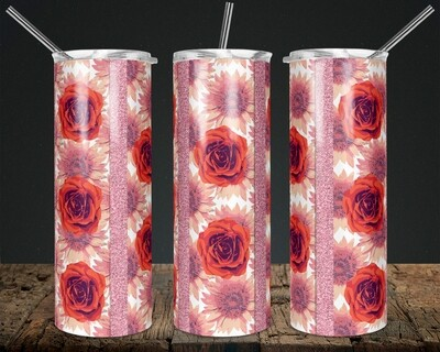 Roses + Sunflowers  -   20/30oz Taper + STRAIGHT TUMBLER PNG Sublimation