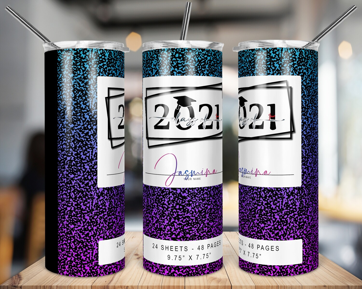 Class of 2021 -  Purple Gradient  -   20/30oz Taper + STRAIGHT TUMBLER PNG Sublimation