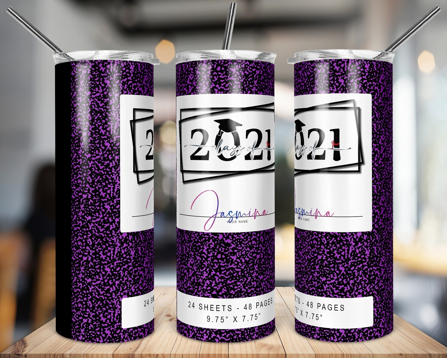 Class of 2021 -  Purple  -   20/30oz Taper + STRAIGHT TUMBLER PNG Sublimation