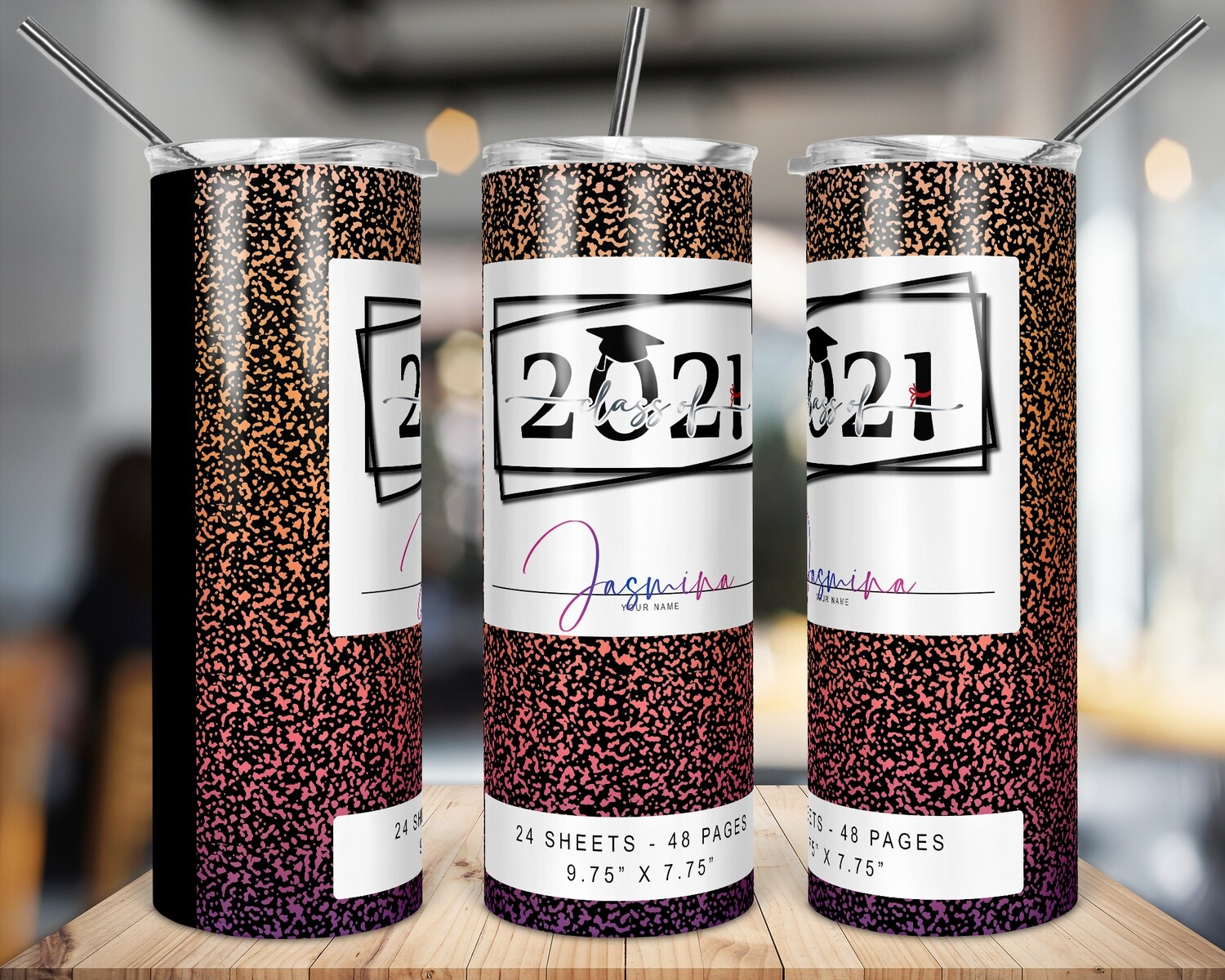Class of 2021 -  Sunset -   20/30oz Taper + STRAIGHT TUMBLER PNG Sublimation