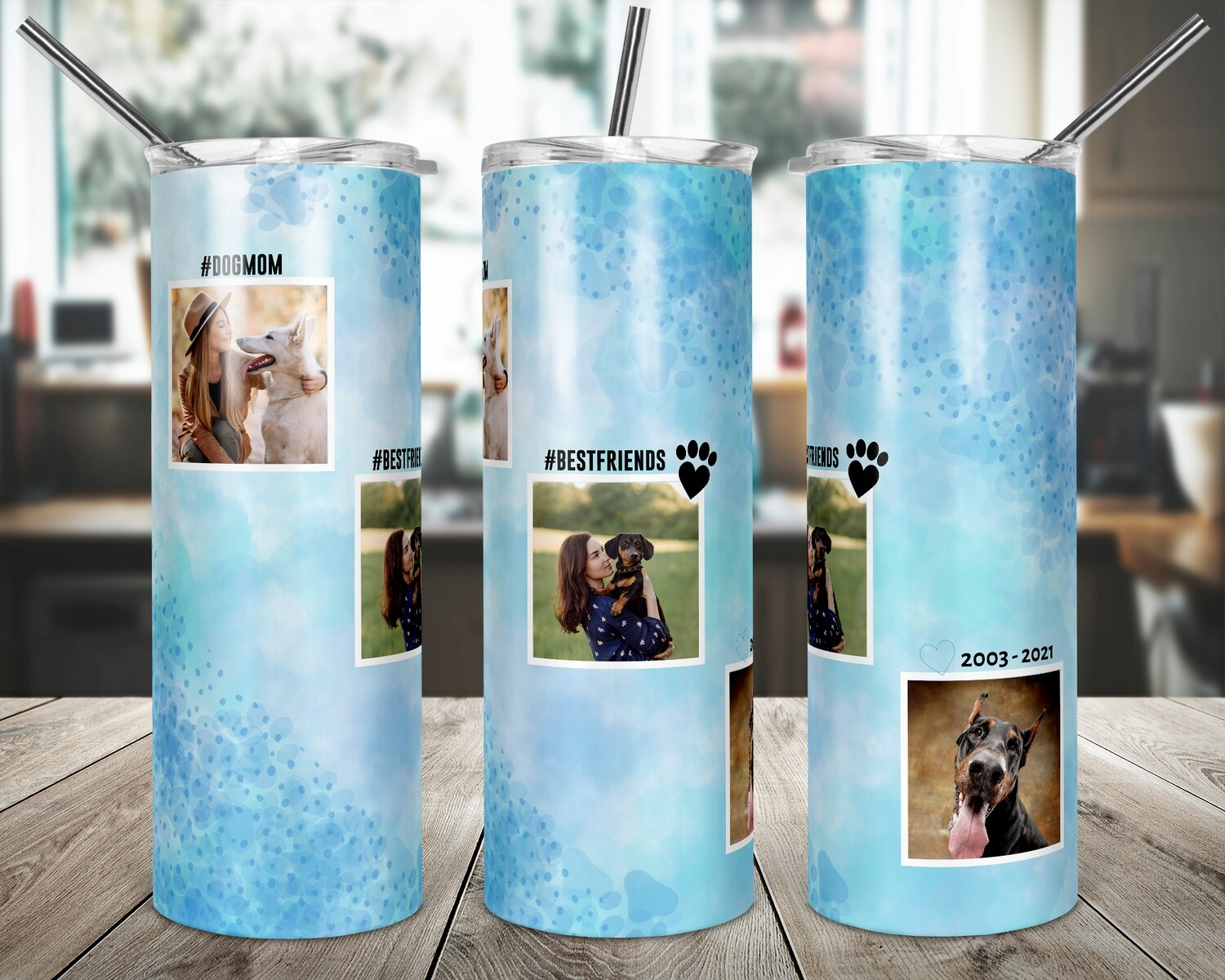 Dog Frames - Add your own Photos  20oz TUMBLER PNG Sublimation