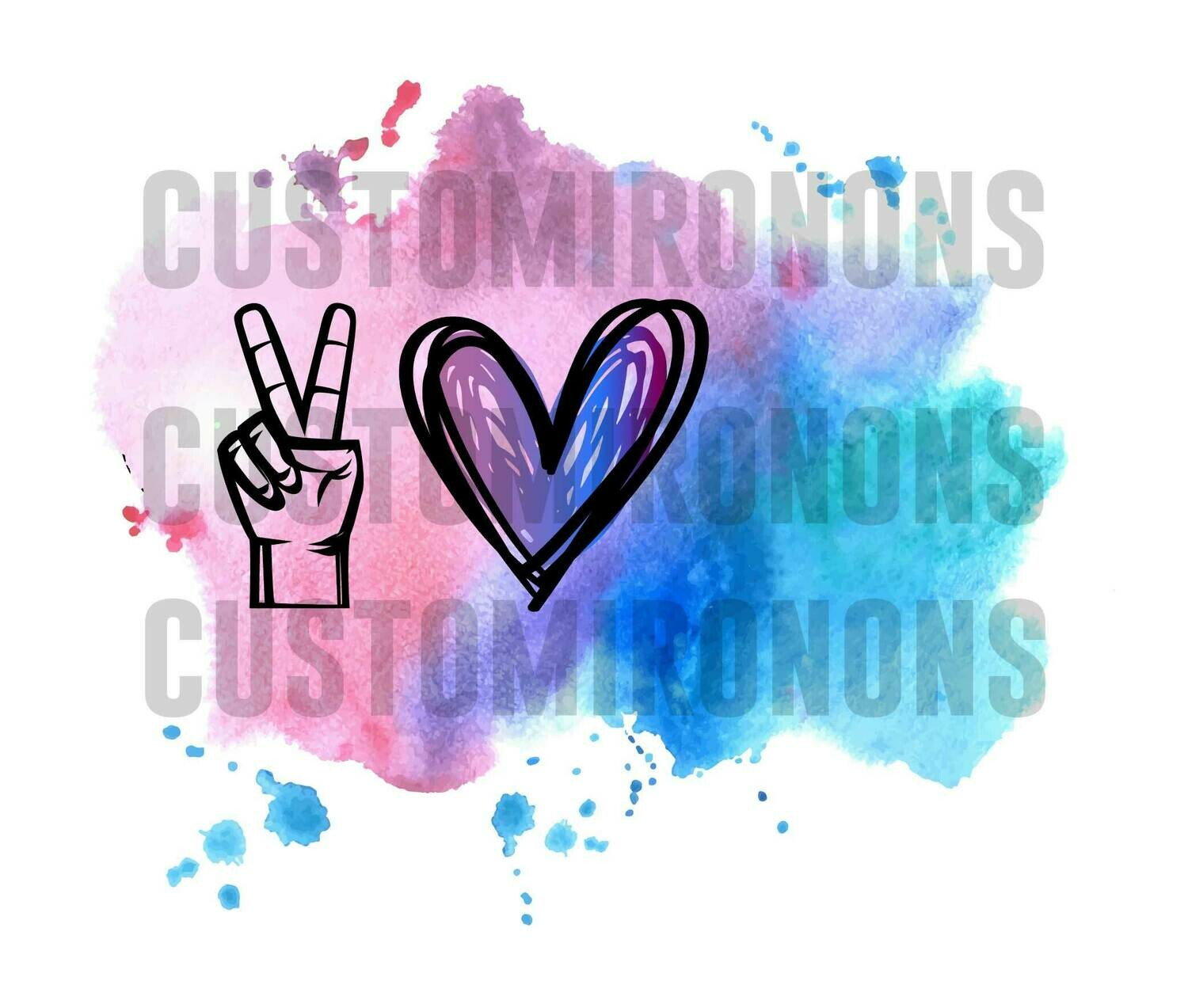 Peace Love Blank with watercolor splash - 300dpi PNG