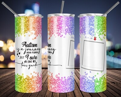 Autism Journey Add a Photo - 20oz Taper + STRAIGHT TUMBLER PNG Sublimation