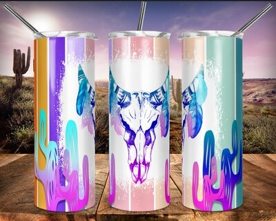 Cow Skull with Feathers Boho Chic - 20oz Taper + STRAIGHT TUMBLER PNG Sublimation