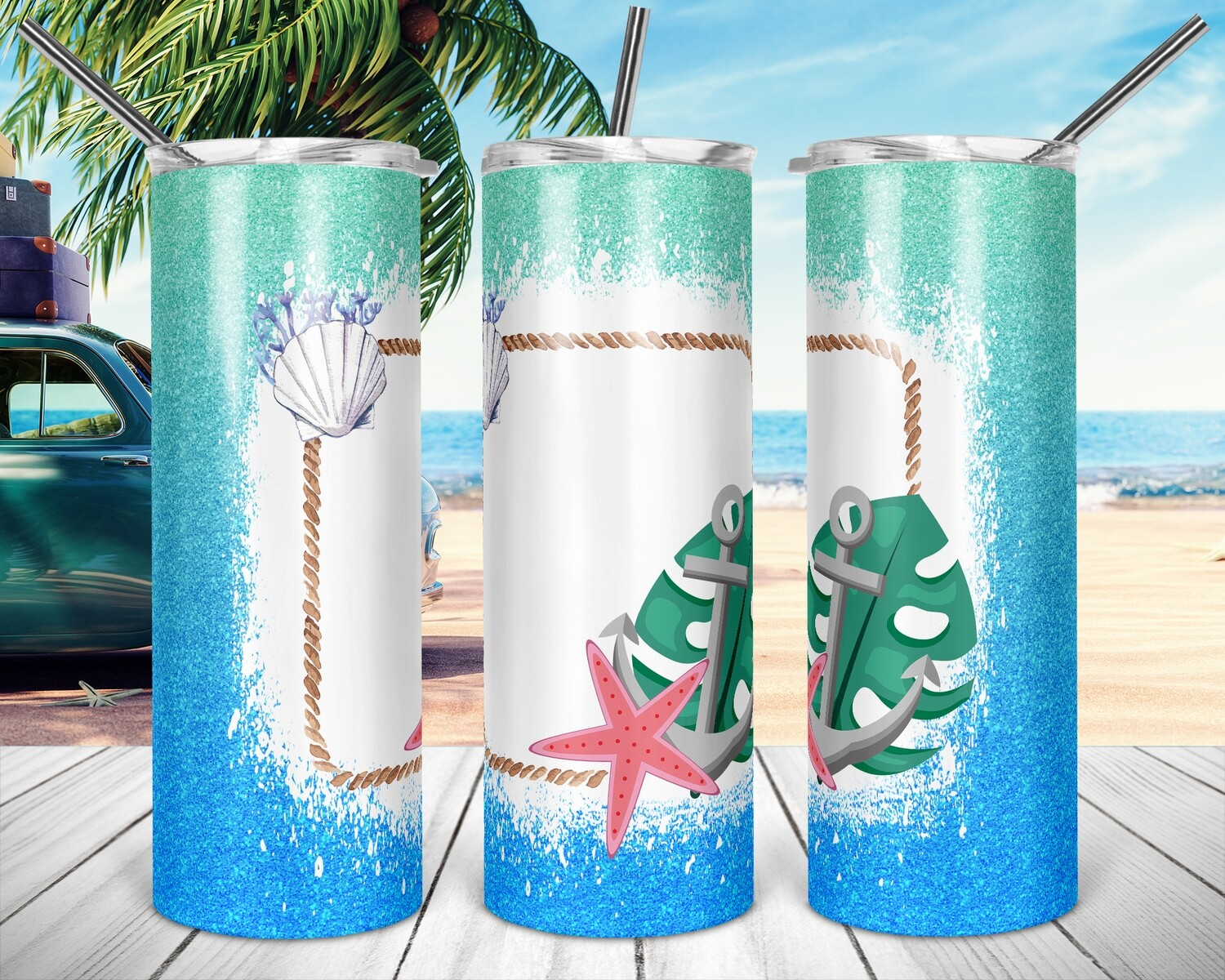 Starfish Anchor Frame- 20oz Taper + STRAIGHT TUMBLER PNG Sublimation