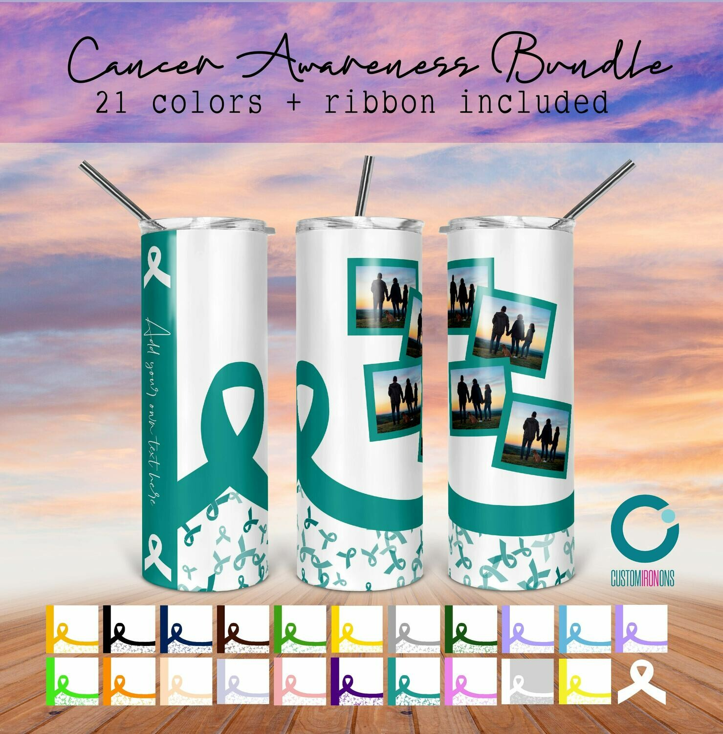 Cancer Awareness Bundle - 21 colors + Ribbon - Add your own Text - 20oz Taper + STRAIGHT TUMBLER PNG Sublimation