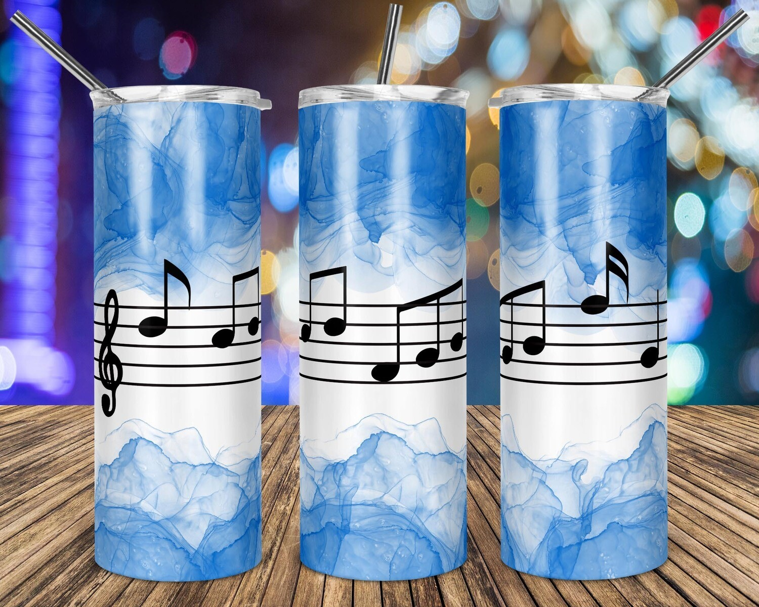 Music Notes Blue Watercolor - 20oz Taper + STRAIGHT TUMBLER PNG Sublimation