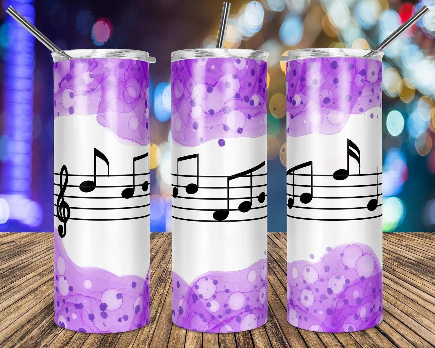 Music Notes Purple Watercolor - 20oz Taper + STRAIGHT TUMBLER PNG Sublimation