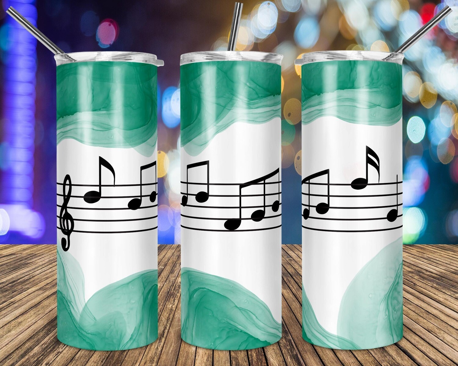 Music Notes Green Watercolor  - 20oz Taper + STRAIGHT TUMBLER PNG Sublimation