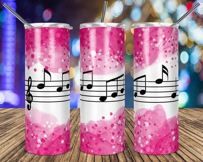 Music Notes Pink Watercolor - 20oz Taper + STRAIGHT TUMBLER PNG Sublimation
