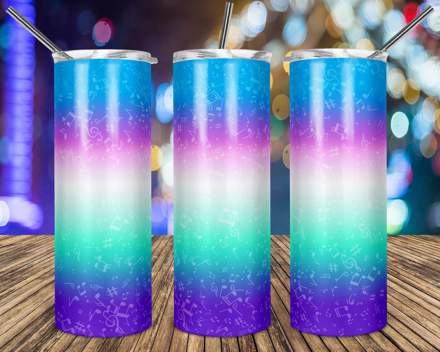 Music Notes Gradient Blue Pink Green Purple  - 20oz Taper + STRAIGHT TUMBLER PNG Sublimation