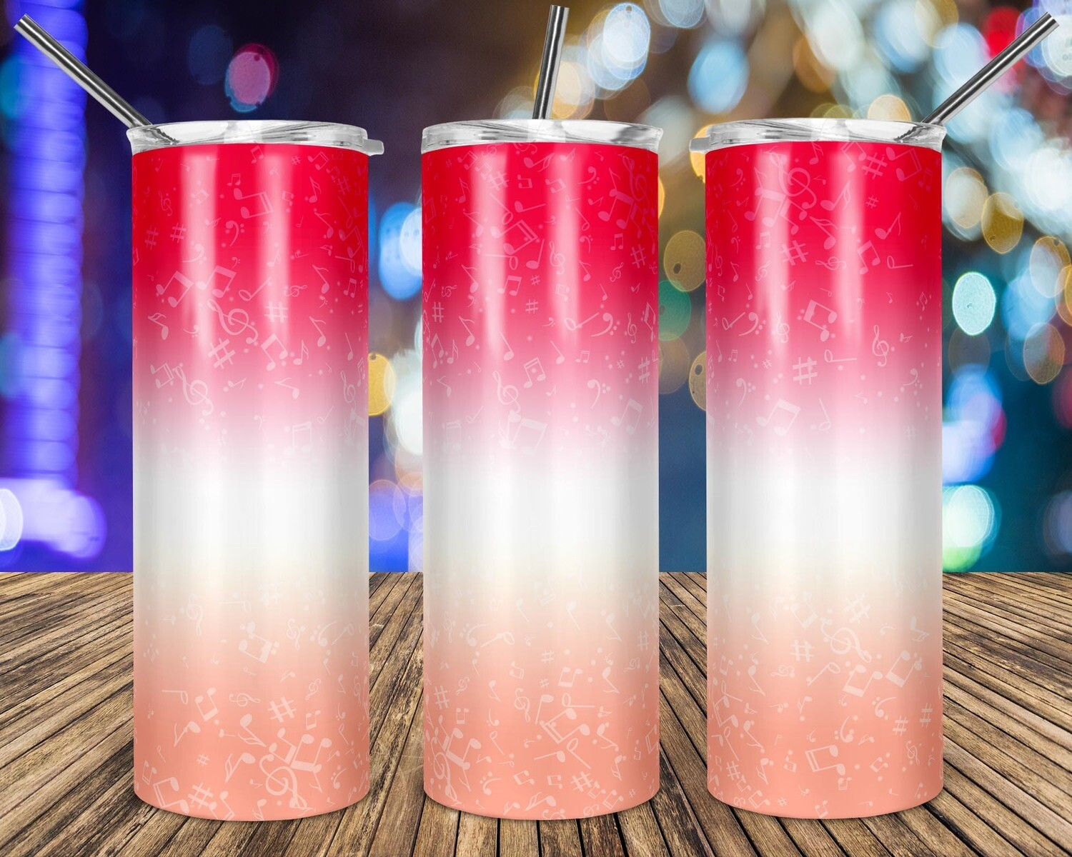 Music Notes Gradient Pink to Peach - 20oz Taper + STRAIGHT TUMBLER PNG Sublimation