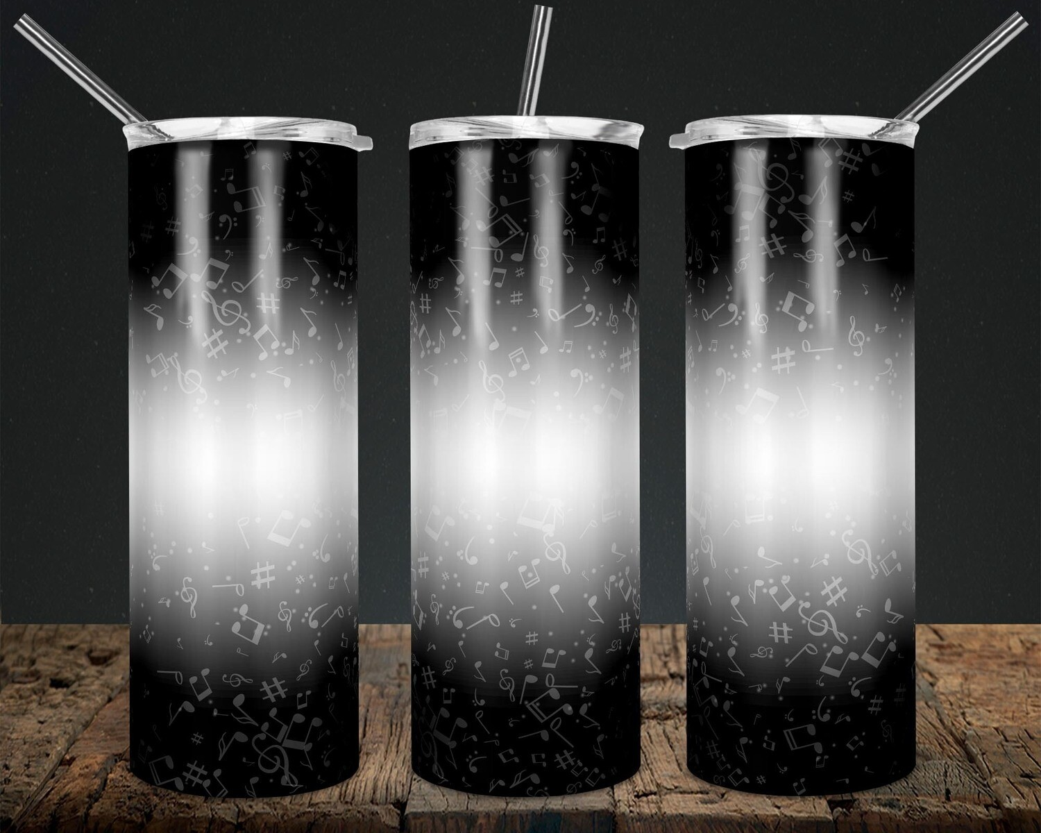 Music Notes Gradient Black - 20oz Taper + STRAIGHT TUMBLER PNG Sublimation