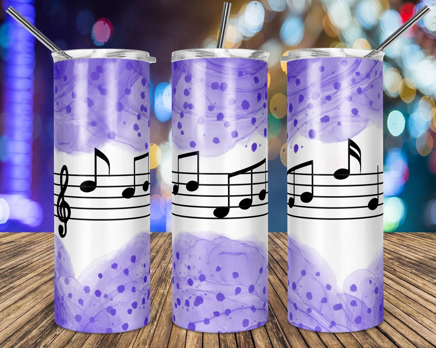 Music Notes Dark Purple Watercolor - 20oz Taper + STRAIGHT TUMBLER PNG Sublimation