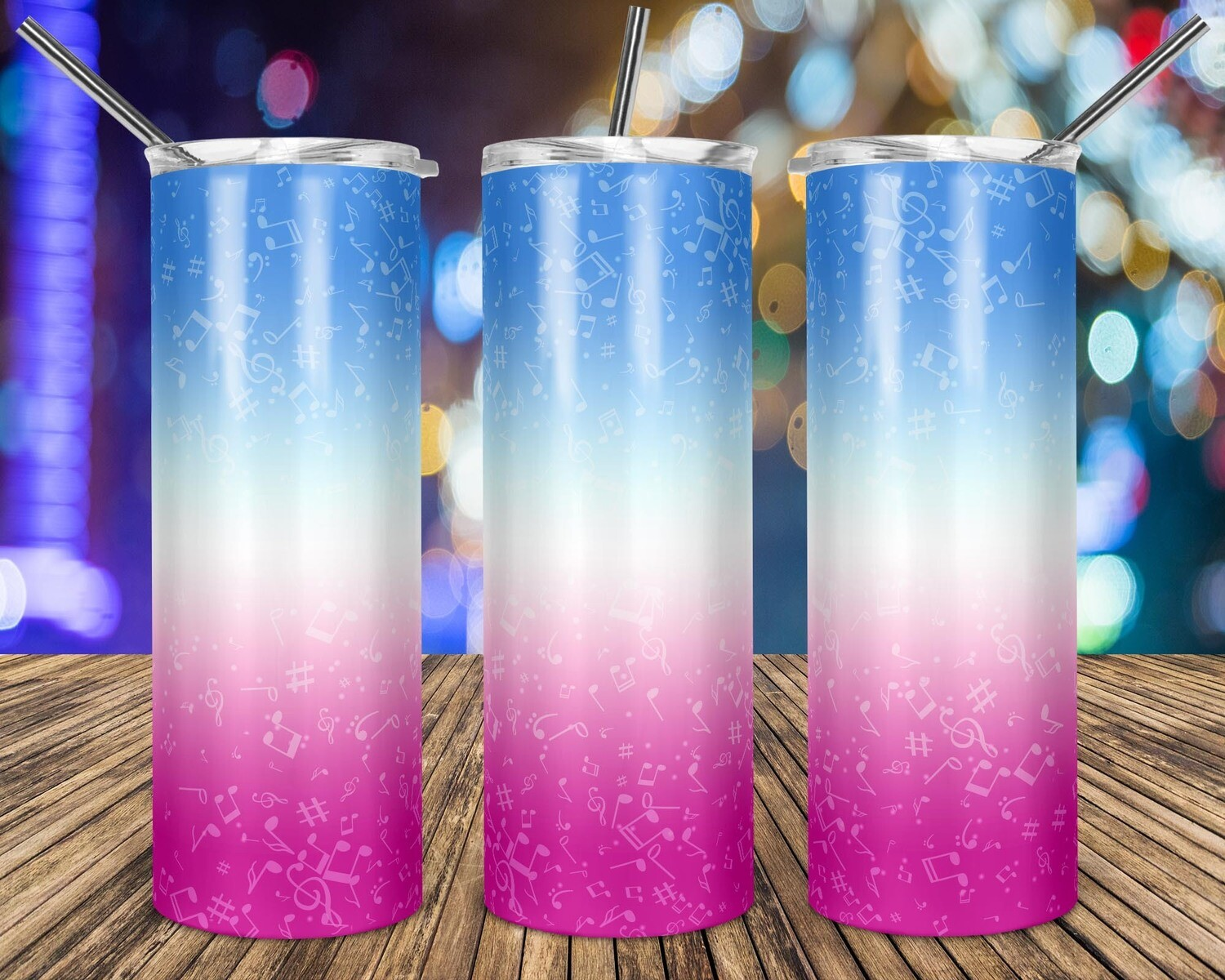 Music Notes Gradient Blue To Pink - 20oz Taper + STRAIGHT TUMBLER PNG Sublimation