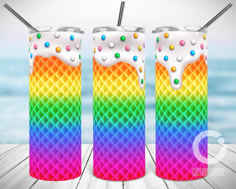 Rainbow Ice Cream Waffle - Sublimation design - Sublimation - DTG printing - Sublimation design download - Summer sublimation design
