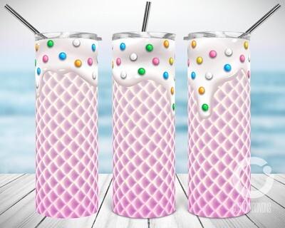 Pink Cotton Ice Cream Waffle - Sublimation design - Sublimation - DTG printing - Sublimation design download - Summer sublimation design