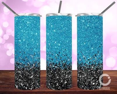 Blue with Black Glitter - 20oz Tumbler Designs