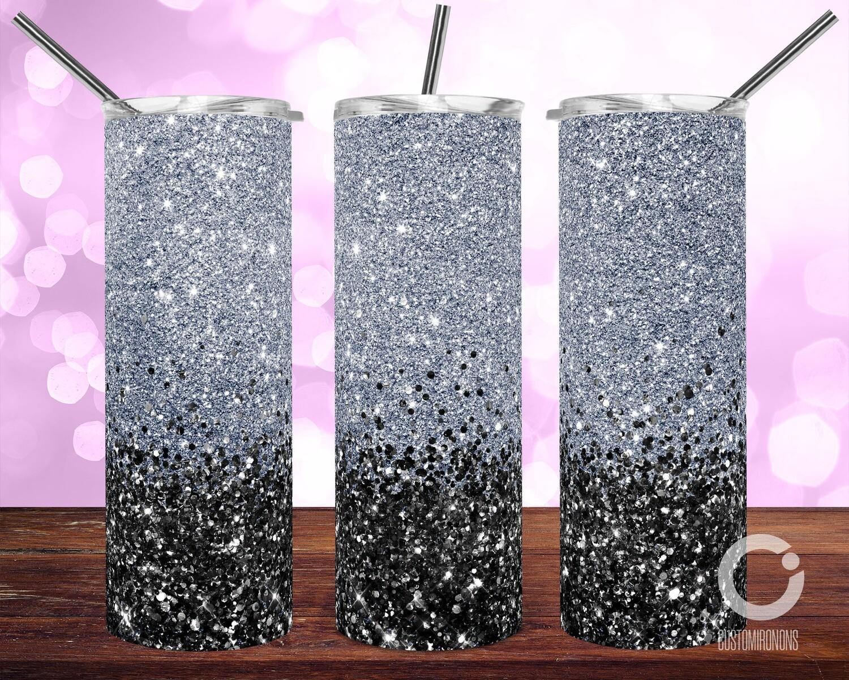 Silver with Black Glitter - 20oz Tumbler Designs