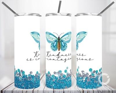 Butterfly Blue Glitter Frame 20oz Tumbler