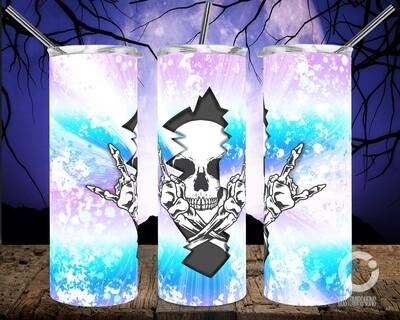 Skull Crack Blue Purple Gradient- 20oz Tumbler