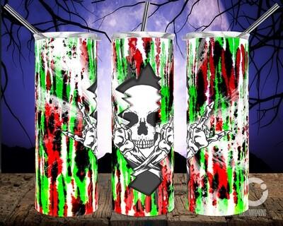 Skull Crack Tie Dye red green- 20oz Tumbler