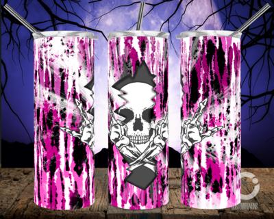Skull Crack Tie Dye Pink- 20oz Tumbler