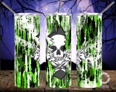 Skull Crack Tie Dye Green- 20oz Tumbler