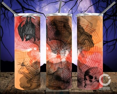 Bats Skull Orange Black Watercolor- 20oz Tumbler