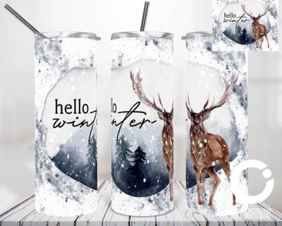 Hello Winter Deer - 20oz Tumbler Digital Download