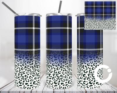 Blue Plaid Cheetah - 20oz Tumbler Digital Download
