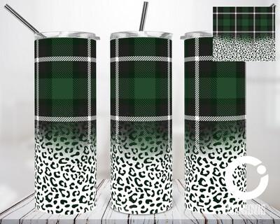 Dark Green Plaid Cheetah - 20oz Tumbler Digital Download